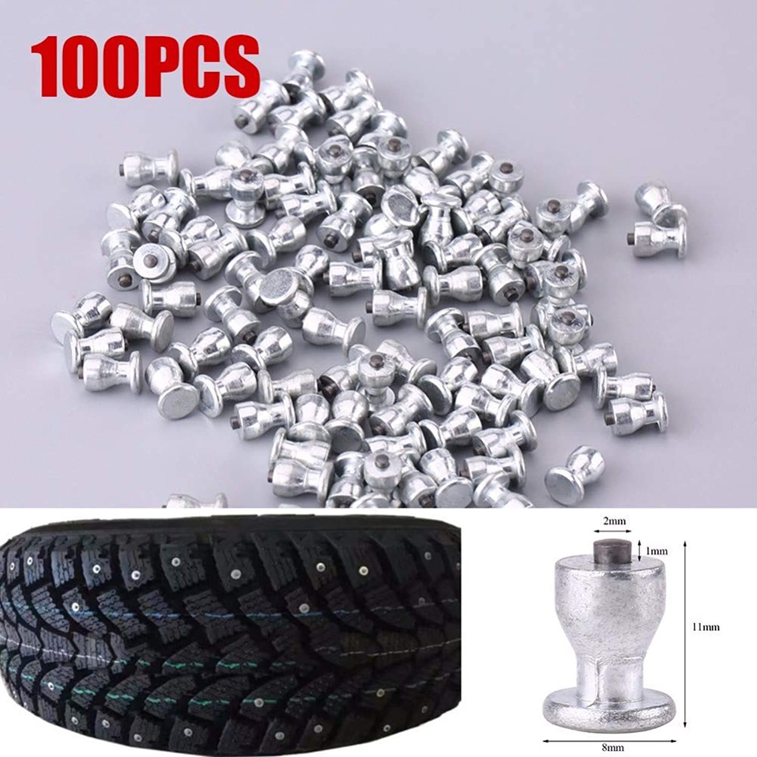 SalaStore  100pcs 8mm 0.31  Wheel Tyre Stud Screws Snow Tire Spikes AntiSlip Screws for Car Auto SUV ATV