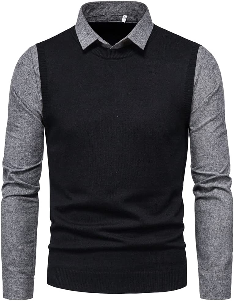 GYZCZX Fake Two Pieces Sweater Men Collar Mens Knitted Casual Slim Fit Knitwear Pull Homme Patchwork Knitwear (Color : Black, Size : XXL Code)