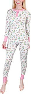 Littleforbig Women's Long Cotton Cozy Breathable Baby Cuties Pajamas Set Two-Piece Soft Stretchy Sleepwear