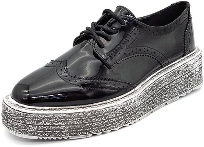 AdeeSu Womens Square-Toe Hollow Out Platform Urethane Oxfords shoes
