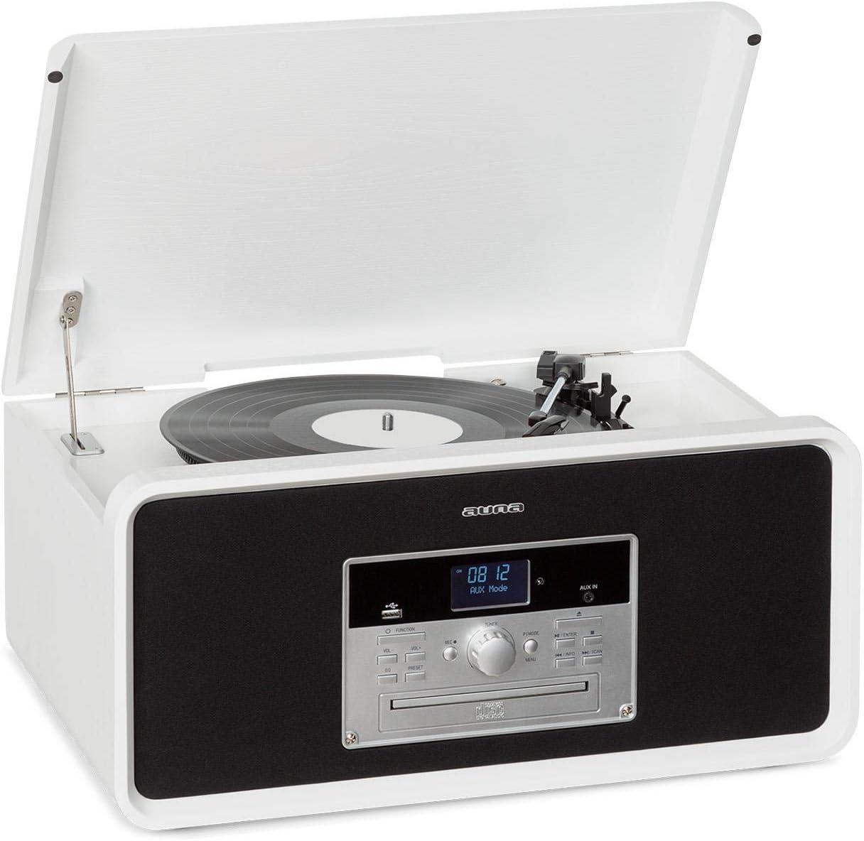 USB-Port Bluetooth CD-Player f/ür CD-R//RW /& MP3CD AUX-IN Radio DAB+//UKW Fernbedienung wei/ß Plattenspieler mit 33//45//78 RPM Stereoanlage Aufnahme-Funktion auna Bella Ann