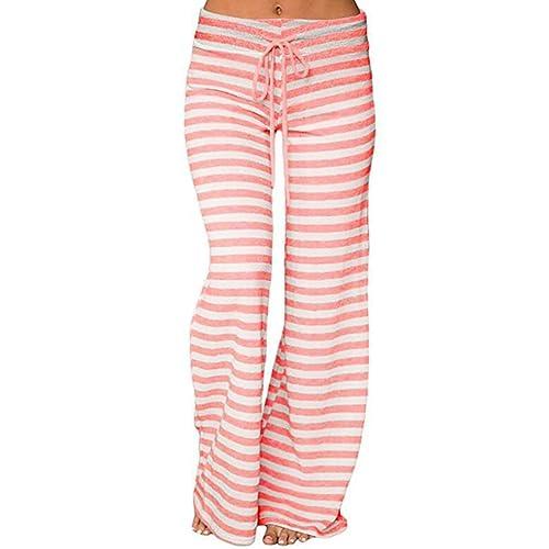 4146e34329ba7 QBQ Women Stripe Palazzo Trousers Drawstring Cotton Casual Wide Leg Pants