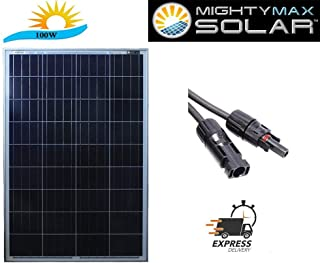 Mighty Max Battery 100 watt Off Grid Solar Power System - 100w 12v -18v high Efficiency polycrystalline Solar Panel Module Battery Charger for Marine and RV Solar Battery Brand Product