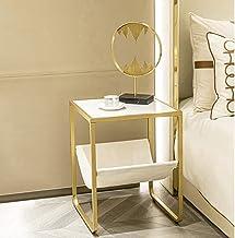 طاولة جانبية ذهبية من HAWOO، مسند أرضي ذهبي، طاولة جانبية علوية من الرخام الصناعي مع ساق معدنية، 45.72 سم × 45.72 سم × 63....