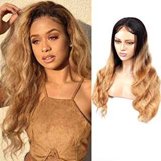 Feelgrace 250% Density Lace Front Wig Human Hair Ombre Body Wave Wigs Ombre Blonde Virgin Hair Wig (10 Inch, 1B/27)