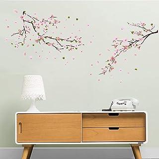 ufengke Pegatinas de Pared Flores de Durazno Vinilos Adhesivas Pared Árbol Rama Decorativos para Habitación Dormitorio Sala de Estar
