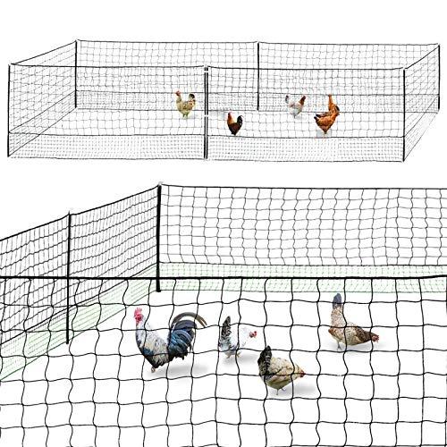 IDMarket - Kit clôture Filet à Poules 12 M avec Porte 6 piquets Double Pointe