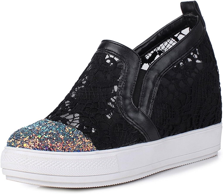 IDIFU Women's Trendy Glitter High Wedged Heels Inside Round Toe Pull On Sneakers