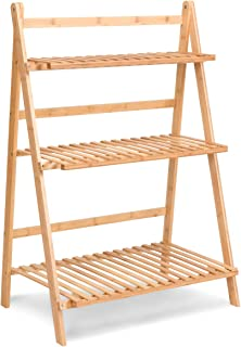 COSTWAY Bamboo Ladder Shelf Foldable Multifunctional Plant Flower Display Stand Storage Rack Bookcase Bookshelf Natural (3 Tier)