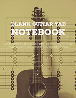 Blank Guitar Tab Notebook: Guitar Tablature Sheet Music Book 8.5x11 Inches 100 Pages 7 Staves with 5 Blank Guitar Chord Chart Per Page (Volume 8)