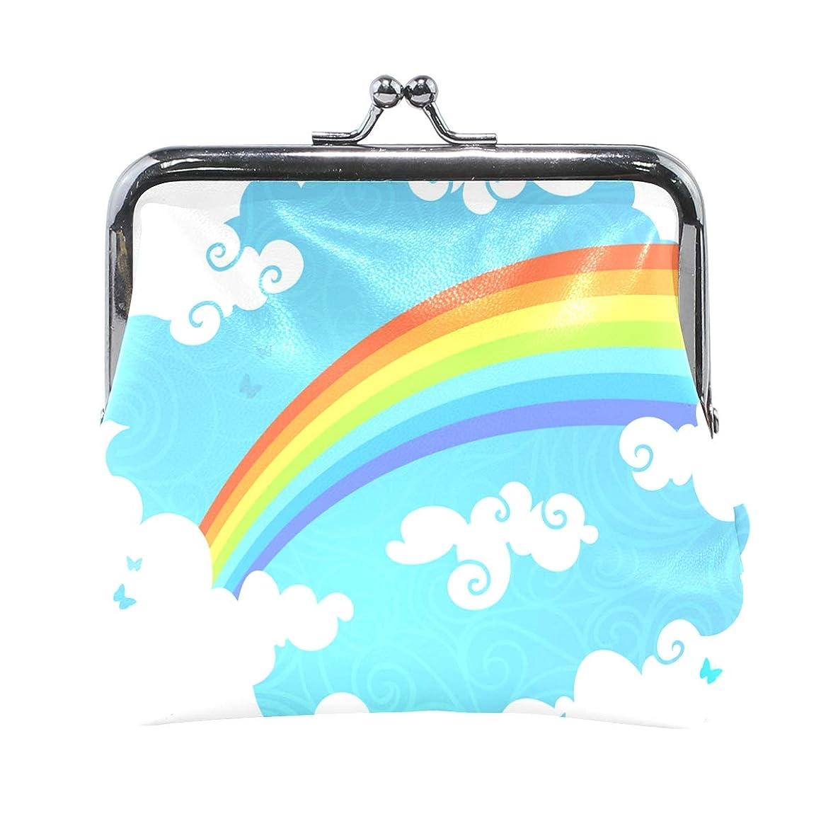 浸したローブミュートAOMOKI 財布 小銭入れ ガマ口 コインケース レディース メンズ レザー 丸形 おしゃれ プレゼント ギフト デザイン オリジナル 小物ケース 虹 虹色 雲柄