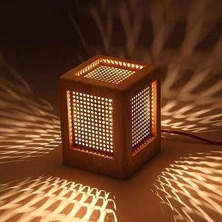 DZX Caja de Estilo japonés Lámpara de Mesa Hueca E27 Luz de Mesa Personalidad Creativa Arte de Madera Simple Lámpara de Escritorio Luz de Escritorio Dormitorio Mesita de Noche Lámpara de Lectura de l