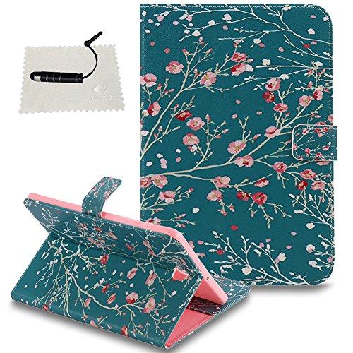 TOCASO Schutzhülle für Samsung Galaxy Tab S2 8.0 (T715) Brieftasche Handyhülle Klapphülle Rückseite Stand Karte Halter Magnet - Schädel KopfAprikosenbaum