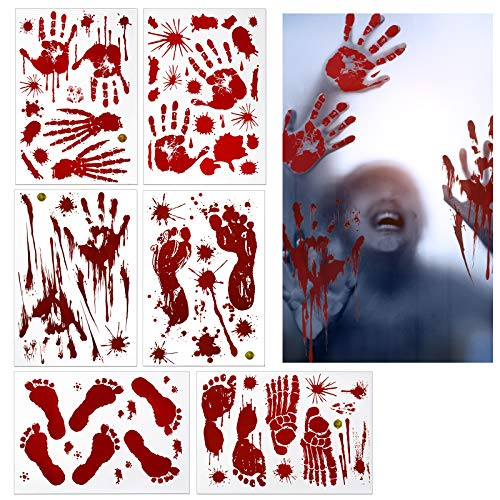 ZERHOK Halloween Aufkleber Realistisch Sticker Blutige Handabdrücken Fußabdrücken Horror Deko für Halloweenparty Fenster Spiegel Badewanne Spukhaus Dekoration (6 Paket)
