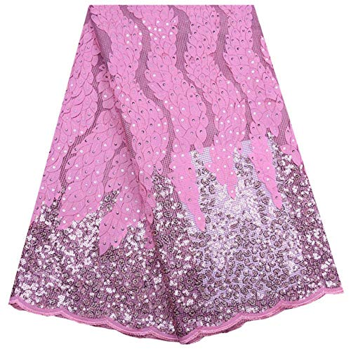 Nieuwe collectie 3D Afrikaanse droge kant stof Borduren Franse mesh kant stoffen met pailletten voor Nigeriaanse feestjurken F1798,1798 Roze