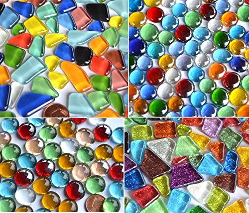 410 g de piedras de mosaico, mezcla de 4 diferentes artículos, ideas de regalo, aprox. 180 unidades