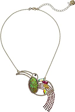 Pink and Gold Tone Toucan Pendant Necklace