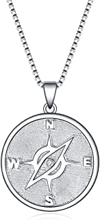 YFN Compass Necklace Sterling Silver Compass Pendant Go in the Direction of Your Dreams Compass Jewelry Necklace for Women...