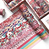 12 Rolls Washi Tape Set Cute Decorative Colored Masking Tape for Scrapbooking, Planners, Card/Gift Wrapping, DIY Decor and Craft Supplies (hefengyingran)