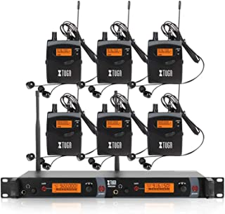 $459 » XTUGA RW2080 Whole Metal Wireless in Ear Monitor System 2 Channel 2/4/6/8 Bodypacks Monitoring with in Earphone Wireless Type Used for Stage or Studio Frequency902-928mhz (6 bodypack with Transmitter)