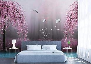 Muurschildering Behang 3D Muur Art Woonkamer Slaapkamer Roze Kersenbloesem - Foto Art Print Natuur Landschap Cinema Muursc...