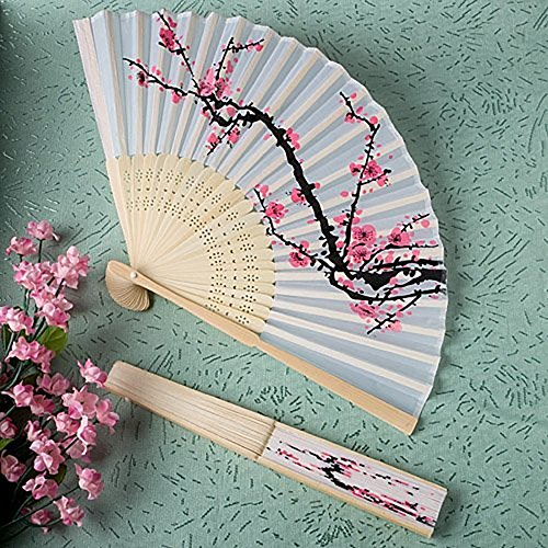 3 X Delicate Cherry Blossom Design Silk Folding Fan Favors, 1