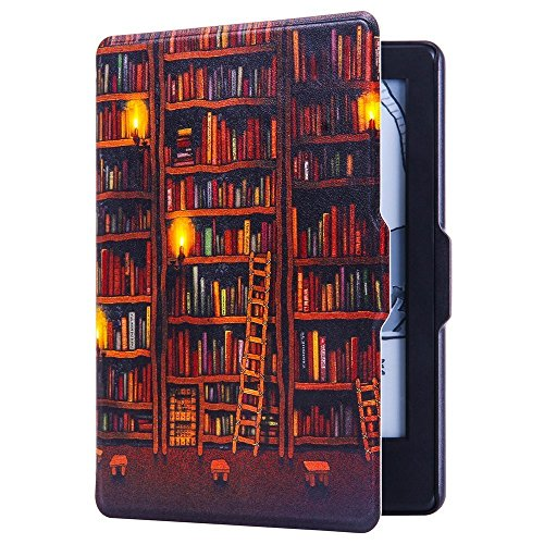 Huasiru Painting Case for Kindle 8th Gen 2016 (Dimensions 6.3 x 4.5 x 0.36 Inches) ONLY - Cover with Auto Wake/Sleep, Library