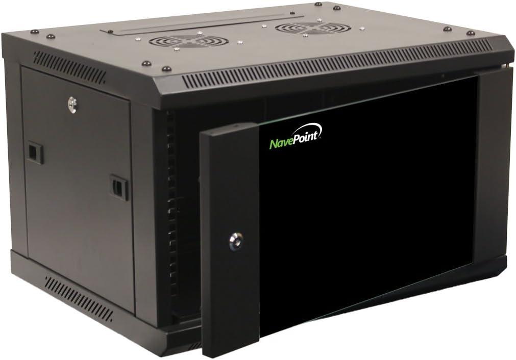 NavePoint 6U Wall Mount Network Server 19 Inch IT Cabinet Rack Enclosure Glass Door Lock
