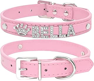 Didog Smooth PU Leather Custom Dog Collars with Rhinestone Personalized Name Letters,Fit Small Medium Dogs