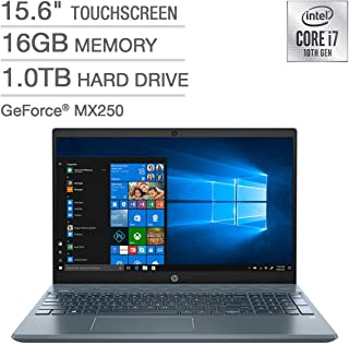 "2020 Newest HP Pavilion 15"" FullHD Home + Business Laptop,15.6"" Touchscreen Laptop - 10th Gen Intel Core I7, 16GB RAM, 1TB Hard Drive 512GB SSD (BOOT) 4GB GeForce MX250 - Fog Blue Win 10"