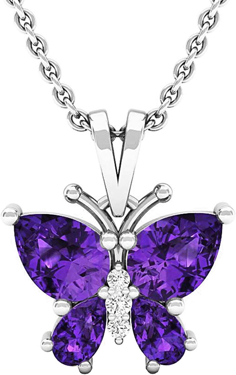 Pear San Manufacturer direct delivery Francisco Mall Gemstone Round Diamond Butterfly Ladies Pendant Teardrop