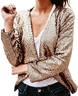 Bomber Jacket,Women's Long Sleeve Solid Sequined Irregular Cardigan Tops Cover Up Coat by-NEWONESUN