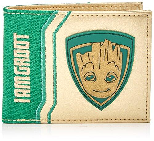 Guardianes con licencia del monedero Galaxy a Vol. 2 con el bebé Groot motivo y logotipo bordado 1 facturas compartimento 3 ranuras para tarjetas, bolsillo 1 moneda con broche de presión Dimensiones 11,5 x 9 x 1,5 cm oro brillante inserto de tela ver...