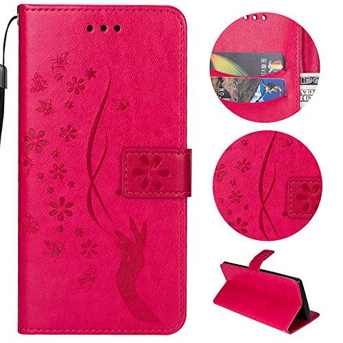 Preisvergleich Produktbild Sycode Galaxy S7 Hülle, Galaxy S7 Case, Galaxy S7 Schutzhülle, Floral Schmetterling Blume Finger Muster Lederhülle Hülle für Samsung Galaxy S7-Rose Red