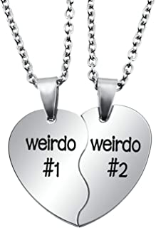 ENHONG Bff Necklace for 2,Teen Girls & Boys Gifts Stainless Steel Heart Broken Friendship Necklace Set