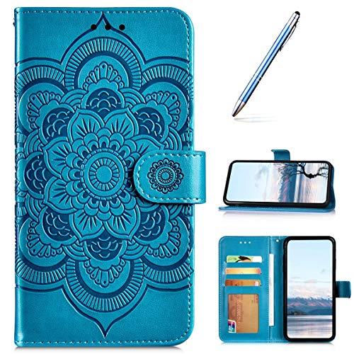 URFEDA PU Leder Handyhülle Kompatibel mit Redmi Note 9 Pro Hülle Wallet 3D Sonnenblume Mandala Gedruckt Cover Magnetisch Stoßfest Kickstand Case Folio Flip Note Book Style Phone Cover Case Blau