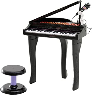 Qaba 37 Key Kids Miniature Black Grand Digital Piano with Microphone, Stool, and 22 Songs