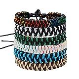 6 Stücke Geflochtene Freundschaftsbänder für Herren Damen Party Camping Zubehör Geschenk Mehrfarbig für Handgelenk Bunte Handgefertigt Gewebte Armband für Jungen Mädchen