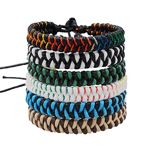Jeka Handmade Braided Woven Friendship Bracelets Fashion 6 Pcs Bulk Men Women's Cool Wrist Anklet Bracelet for Boys Gift