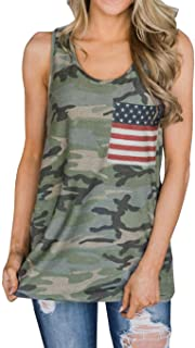 Imysty Womens Casual Sleeveless Camouflage Tank Tops American Flag Print Racerback Camo Shirts