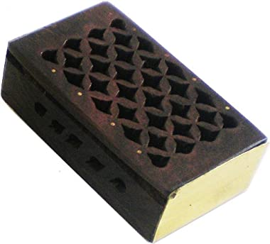 """Cultural Exchange Amber Resin Wood Storage Box [Pack of 2 - Brown - 2""""]"""