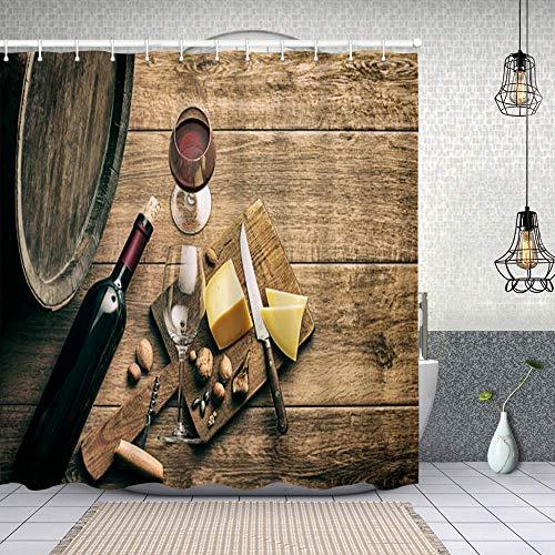 Cortina de Baño con 12 Ganchos,Vaso y Botella de Vino Tinto,Cortina Ducha Tela Resistente al Agua para baño,bañera 150X180cm