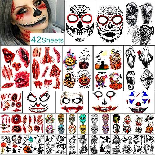 42 Fogli set Famiglia Tatuaggio Temporaneo di Halloween per Donna Uomo Ragazzo e Ragazza.