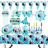 CHUANGXIN 6 Invitados Kit CumpleañosDibujos Animados Anime Tema cumpleaños, Vacaciones Papel Taza Plato Bandera Bolsa Mantel decoración de la Fiesta de Bienvenida al bebé