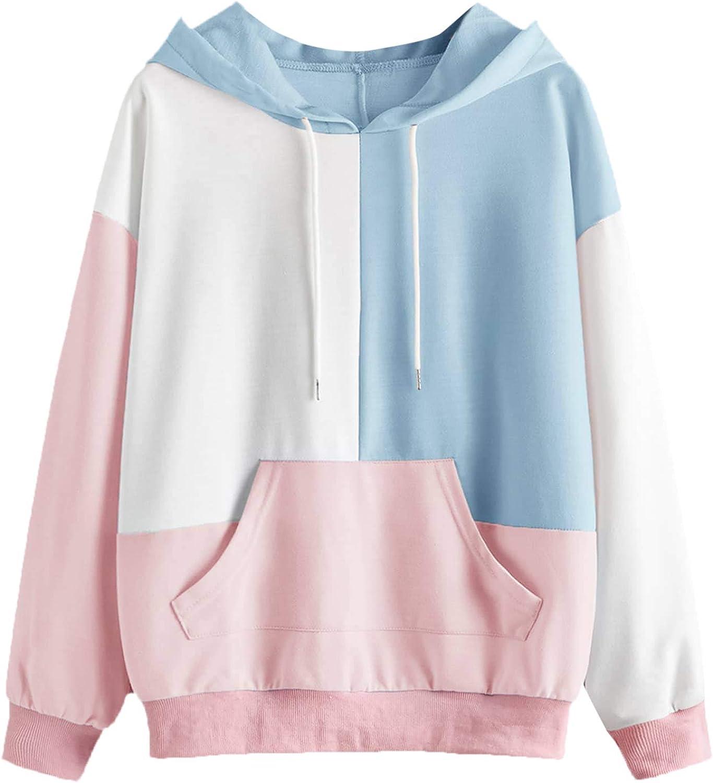 SweatyRocks Women's Causal Long Sleeve Color Block Hoodie Sweatshirt with Pocket