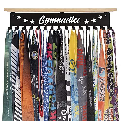 iBobbish Trophy Medal Holder Display Hanger Rack Frame Shelf,Medal Holder with Wooden Trophy Shelf Rack,Sturdy Black Metal Wall Mount Over 50 Medals Easy to Install-Authorized Copyright NO.V2224P286