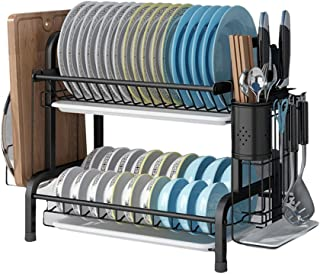 Dish Drying Rack, 2-Tier 304 Stainless Steel Dish Rack with Drain Board,Cutting Board Holder and Dish Drainer for Kitchen ...