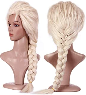 Anogol Hair Cap+Blonde Cosplay Wig Party Braided Hair Wigs for Costume Party Halloween