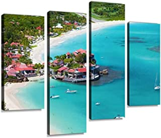 4 Panels Canvas Paintings - Aerial View of Eden Rock, St Barths, French West Indies - Wall Art Modern Posters Framed Ready to Hang for Home Wall Decor
