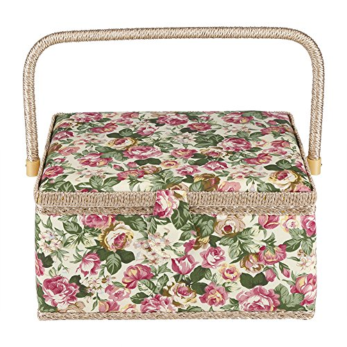 Greensen Sewing Basket, Sewing Kit Storage Box with Removable Tray, Sewing Organizer Holder Fabric Floral Printed Craft Box Household with Handle